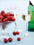 Bowl of Cherries and Two Glasses of White Wine Prints by Vladimir Shulevsky