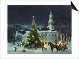 Greeting Card - White Church with Large Tree and People Surrounding Posters