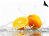Oranges with Splashing Water Posters by Michael Löffler