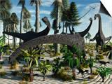 A Herd of Diplodocus Dinosaurs Feeding on Plants Art by  Stocktrek Images