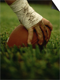 Close-up of the Hand of an American Football Player Holding a Football Art