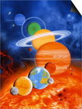 Artwork of Sun And Planets of Solar System Art by Julian Baum