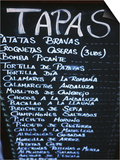 Tapas Menu on Blackboard in a Bar Prints by Martin Skultety