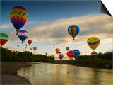 Balloons Soaring About Sandia Mountains and Rio Grande River During Albuquerque Balloon Fiesta Posters by James Shive