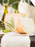 Cheese, Green Olives and Olive Oil on Table Out of Doors Poster