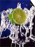 Slice of Lime on Splashing Water Prints by Dirk Olaf Wexel