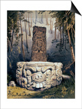 Idol and Altar at Copan Posters by Frederick Catherwood
