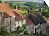 Gold Hill, and View over Blackmore Vale, Shaftesbury, Dorset, England, United Kingdom, Europe Print by Neale Clarke