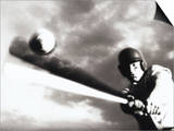 Low Angle View of a Baseball Player Swinging a Baseball Bat Print