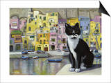 Cat in Corricella, Italy Print by Isy Ochoa
