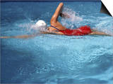Swimmer in Red Suit Posters