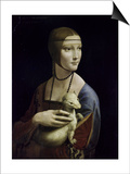 Portrait of Cecilia Gallerani (Lady with an Ermine) Posters by  Leonardo da Vinci