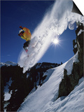 Airborne Snowboarder with Sunburst Prints
