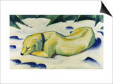 Dog Lying in the Snow Print by Franz Marc
