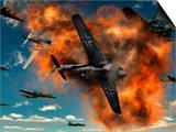World War II Aerial Combat Between American P-51 Mustang and German Focke-Wulf 190 Fighter Planes Art by  Stocktrek Images