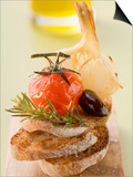 Fried Cherry Tomato, Olive and Garlic on Toast Print