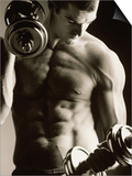 Close-up of a Young Man Working Out with Dumbbells - Poster