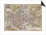 Paris Map, 1581 Prints by Georg Braun