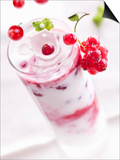 Redcurrants Falling into a Layered Yogurt Dessert Posters by Daniel Reiter