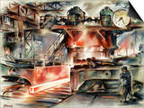 Oberhausen Steelworks, Artwork Print by CCI Archives