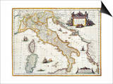 Map Of Italy, 1631 Prints by Johannes Blaeu