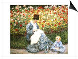 Madame Monet and Child in a Garden Prints by Claude Monet