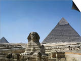 Great Sphinx and Pyramid of Khephren and Menkaure (to left) 4th dynasty, Giza, Egypt Poster