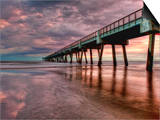 Jacksonville, Fl: Sunrise Colors the Skies at the Pier Prints by Brad Beck