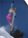 Snowboarder Performing Stunt Maneuver Art