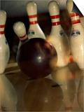 Bowling Ball Striking Pins Poster