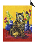 Cat and Tulips II (Chat Tulipes II) Posters by Isy Ochoa