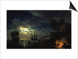 Night Sea Port in Moon Light 1771 Poster by Claude Joseph Vernet
