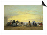 On the Beach at Sunset Prints by Eugène Boudin