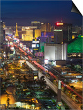 Elevated View of the Hotels and Casinos Along the Strip at Dusk, Las Vegas, Nevada, USA Prints by Gavin Hellier