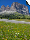 Cyclist and Sassolungo Group, Sella Pass, Trento and Bolzano Provinces, Italian Dolomites, Italy Prints by Frank Fell