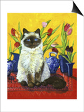 Cat and Tulips I (Chat Tulipes I) Prints by Isy Ochoa