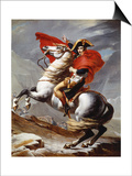 Napoleon Bonaparte, 1769-1821, Emperor of the French, Crossing the Alps Prints by Jacques-Louis David
