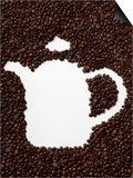 Coffee Beans in Shape of a Coffee Pot Print