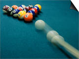 Cue Ball Rolling Towards Racked Billiard Balls Art