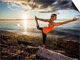 Dan Holz - Yoga Position: Dance Pose on the Beach of Lincoln Park - West Seattle, Washington - Poster