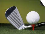 Golf Club and Ball on Tee Posters