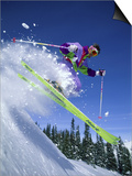 Skier with Yellow Skis Prints