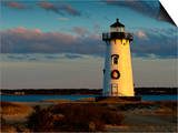 Edgartown Lighthouse at Christmas on Martha's Vineyard at Sunset Prints by James Shive