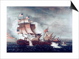 Battle of U.S.S. Constitution and H.M.S. Guerriere, War of 1812 Prints by Thomas Birch
