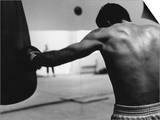 Monochromatic Image of a Boxer Working Out Prints