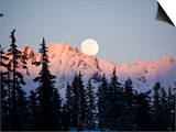 Moonrise over the North Cascades at Sunset, as Seen from Mount Baker, Washington. Prints by Ethan Welty