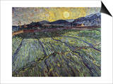 Enclosed Field with Rising Sun Saint-Remy Poster by Vincent van Gogh