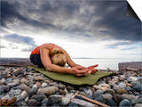Yoga Position of Child's Pose in Lincoln Park - West Seattle, Washington Prints by Dan Holz