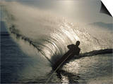 Waterskier Silhouetted with Sun Shining Through Water Art