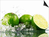 Limes with Splashing Water Posters by Michael Löffler